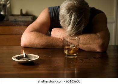 Alcoholism: portrait of a lonely, desperate man