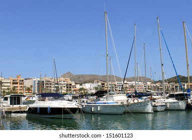 ALCUDIA HARBOR, MAJORCA, SPAIN - 4th August 2013: Alcudia Bay resort on the 4th August 2013. This is a popular tourist destination every summer, particularly from visitors from European countries.