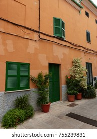Alcudia, Majorca / Spain - August 2017: spanish house in the streets of Alcudia's old town