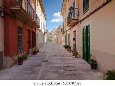 Alcudia, Mallorca, Balearic Islands, Spain, September 24 2015: Village street in Alcudia, Mallorca, Spain.