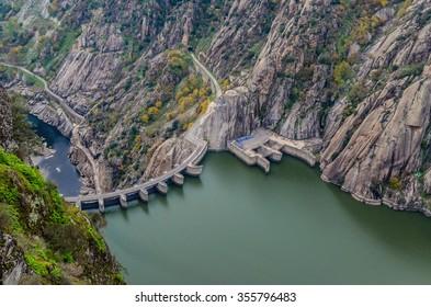 Aldeadavila dam in Arribes del Duero natural park, Salamanca, Spain