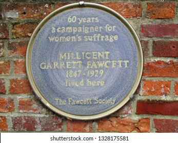 Aldeburgh, Suffolk, August 14, 2019.  Blue wall plaque to suffragette Millicent Fawcett.  Alde House Drive. Aldeburgh, Suffolk, August 14, 2018