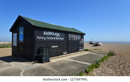 ALDEBURGH, SUFFOLK, ENGLAND - MAY 05, 2018: Aldeburgh Fishing tackle and bait shop on Aldeburgh Beach Suffolk.