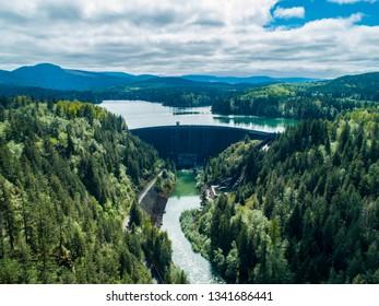 Alder Dam Reservoir Aerial View Washington USA