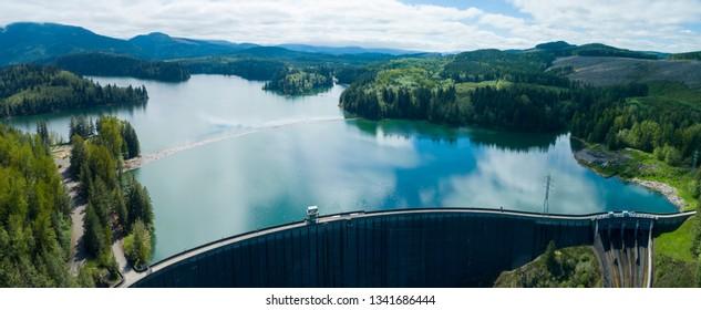 Alder Lake Dam Reservoir Nisqually River Washington Aerial View