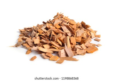 Alder wood chips isolated on white background.