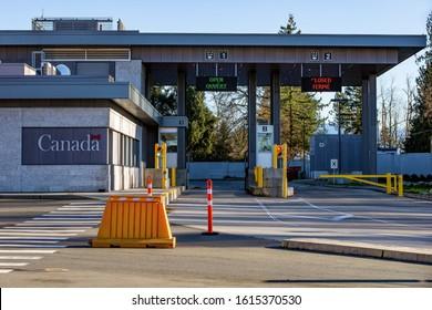 Aldergrove, Canada - January 15, 2019: cars going through the Canada–US border control