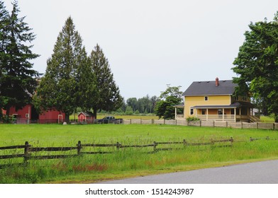 """Aldergrove, Canada - June 9, 2019: View of Beautiful farm which have been used as filming location """"Kent Farm"""" in TV Show """"Smallville"""" and this Place also appeared in TV Show """"Riverdale"""""""