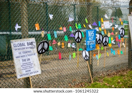 Aldermaston, United Kingdom, 1st April 2018:- Peace messages near the main gate to the AWE where Britains atomic wareheads are made, on the 60th anniversary of the first CND march in 1958