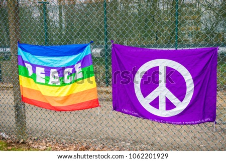 Aldermaston, United Kingdom, 1st April 2018:- CND peace banners by the main gate to the AWE where Britains nuclear warheads are made, on the 60th anniversary of the first CND march in 1958
