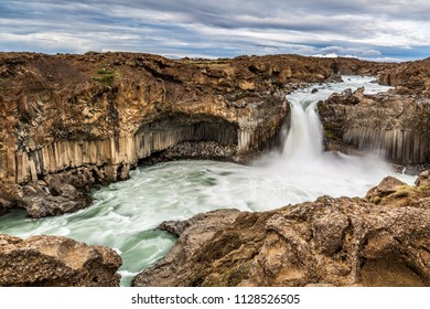 Aldeyjarfoss Waterfall in North Iceland.  One of the most interesting features of this waterfall is the contrast between the black basalt columns and the white water.