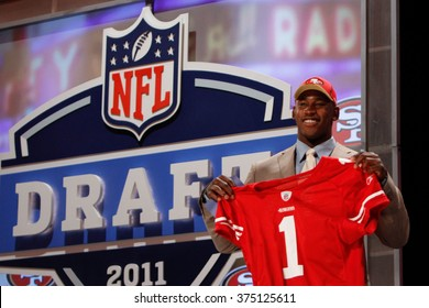 Aldon Smith is introduced as the seventh pick to the San Francisco 49ers at the NFL Draft 2011 at Radio City Music Hall in New York, NY.