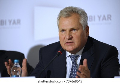 "Aleksander Kwasniewski the former President of Poland, keeping speech during press-conference devoted to Memorial center of Holocaust ""Babi Yar"". October 19, 2017. Kyiv, Ukraine."
