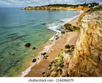Alemao Beach, Praia do Alemao, in Portimao, in south Portugal. Portimao, Algarve region.