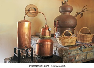 Alembic Copper. A distillation apparatus used for the production of alcohol, essential oils and moonshine.