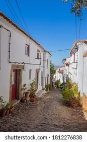 Alentejo, Portugal - August 27, 2020: Castelo de Vide typical street. Castelo de Vide, Alentejo, Portugal