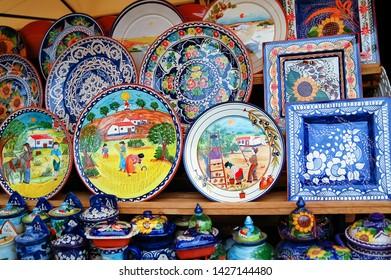 ALENTEJO, PORTUGAL - JULY 28, 2005 : Ceramics souvenir shop for tourists in Beja local market.