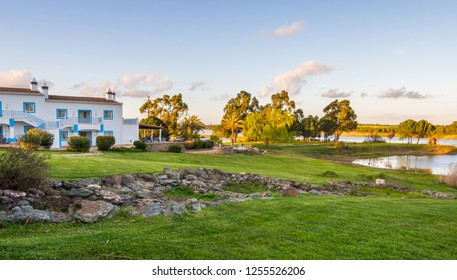 ALENTEJO, PORTUGAL - MARCH 29, 2018: Landscape in wine region Alentejo, around Herdade de Grous winery.