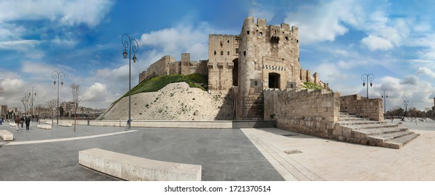 Aleppo castle in panoramic view