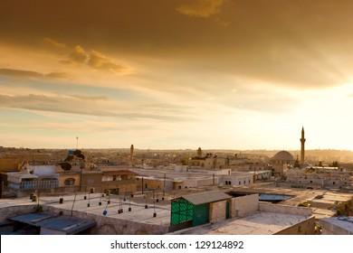Aleppo sunset in Syria
