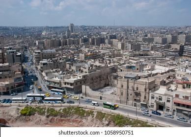 Aleppo / Syria - April 10, 2009: Cityscape of Aleppo City viewed from Aleppo Citadel before Syrian Civil War