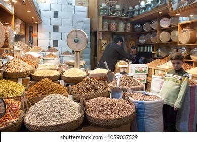 Aleppo / Syria - April 11, 2009 : Nut shop in the old market (Al-Medina Souq) located at the heart of Syria city of Aleppo