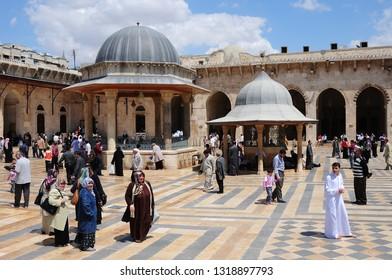 Aleppo / Syria - April 23, 2010: Aleppo Umayyad Mosque in Syria