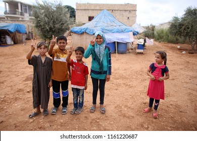 Aleppo, Syria - December 2016: Unidentified children at Refugee camp near the village outside Aleppo city in Syria