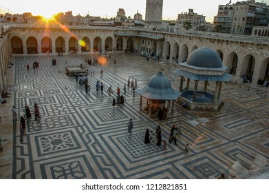 ALEPPO, SYRIA - SEPTEMBER 9, 2014: the Great Mosque of Aleppo, Syria, Aleoppo was once a city rich in cultural heritage, now ruined by the civil war.