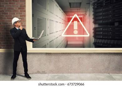 Alert icon in server room
