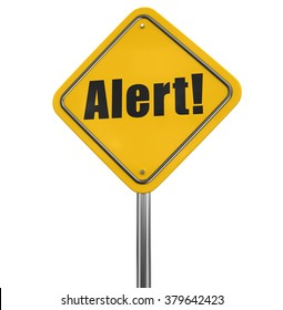 Alert Road sign. Image with clipping path
