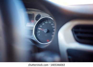 alert signal on the dashboard of a car