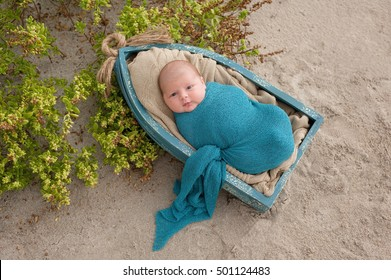 An alert, three week old, newborn, baby boy swaddled in a blue wrap and lying in a little boat. Shot on a sand and beach vegetation background.