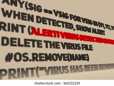 Alert. Virus detection text in computer abstract script code. Anti virus program relative image. Internet safety