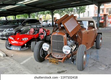 ALES, FRANCE – SEPTEMBER 9, 2018: hotrod Ford 1936 with a V8 engine on a parking lot of the city of Ales in the Gard department