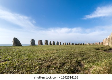Ales stenar is famous standing stones landmark in southern Sweden, Skane County.