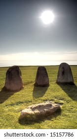 Ale's Stones (Ales Stenar) historic site in Skane (Sweden)