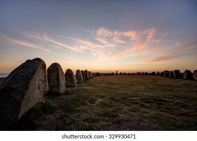 Ale's stones (ales stenar) in Skane in southern Sweden in evening light