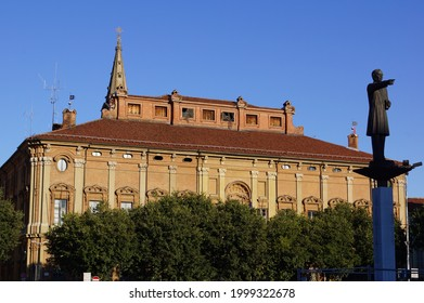 Alessandria, Italy - July 16 2014: a view of Ghilini Palace and the statue of Urbano Rattazzi