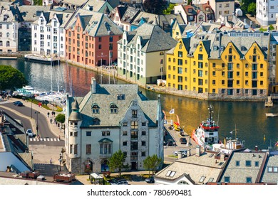 Alesund, Norway - 26 July, 2013: view of central city part with historic art nouveau architectural style in which most of the town was rebuilt after a fire in 1904. Scandinavia, Europe.