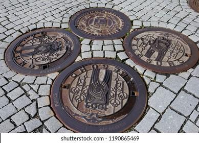 Alesund, Norway - August 17, 2018 - Manhole covers in Alesund (Aalesund)