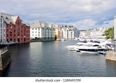 Alesund, Norway - August 19, 2018 - Inner harbor of Alesund (Aalesund)