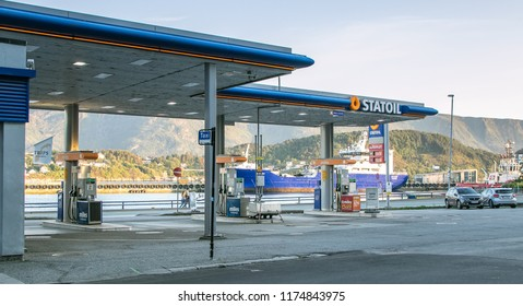 Alesund, Norway, July 27, 2018: Statoil gas station is idle as there are no customers at the moment.