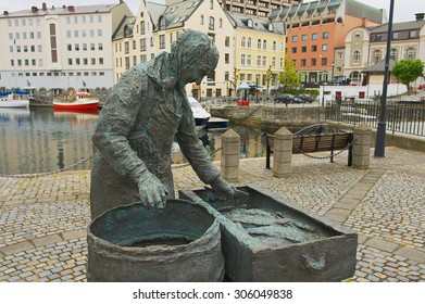ALESUND, NORWAY - JUNE 03, 2010: Exterior of the Herring woman monument in Alesund, Norway. Fishing (especially herring) industry historically was very important for Alesund.
