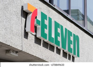 ALESUND, NORWAY - June 10, 2017: 7-Eleven sign at branch. 7-Eleven is an international chain of convenience stores, headquartered in Irving, Texas.