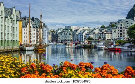 Alesund, Norway - May 30, 2017: Alesund old town sea front view.