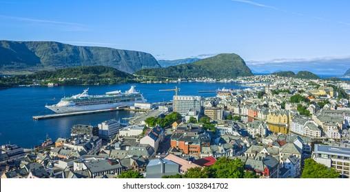 Alesund, Norway. Norwegian town in fjords, cruise ship
