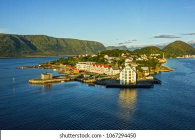 Alesund, Norway - panoramic view on center of cruise port Alesund in Norwegian fjords