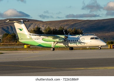ALESUND / NORWAY - SEPTEMBER 2017 Widerøe De Havilland Canada DHC-8-311Q Dash 8, LN-WFT, cn 532 arriving in perfect afternoon light.