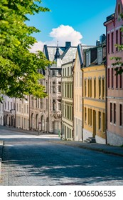 Alesund, Norway.  View of central city part with historic art nouveau architectural style in which most of the town was rebuilt after a fire in 1904. Popular tourist destination in Scandinavia, Europe